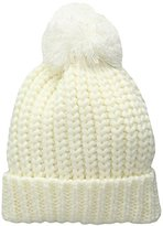 Jessica Simpson Women's Solid Drop Stitched Beanie with Pom