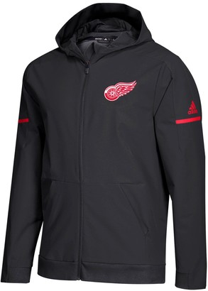 adidas Men's Black Detroit Red Wings Squad Woven Full-Zip Hoodie