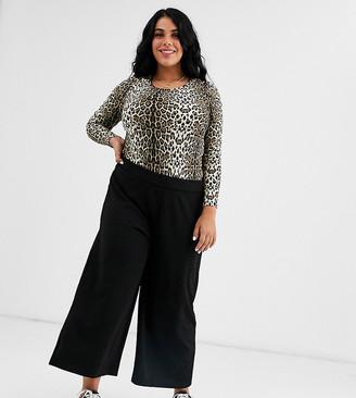Brave Soul Plus becca wide leg trousers-Black