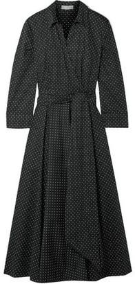 Michael Kors Wrap-effect Polka-dot Cotton-blend Poplin Dress