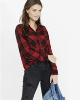 Express Red And Black Check Plaid Oversized Shirt
