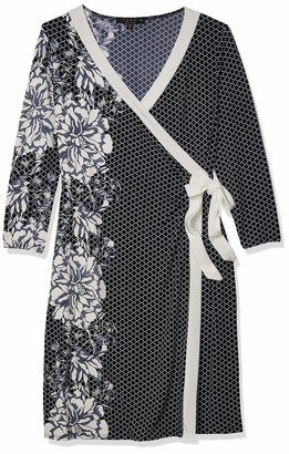 Tiana B T I A N A B. Women's Long Sleeve Puff Print wrap Dress with Floral Detail Navy/White 8