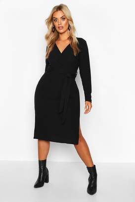 boohoo Plus Soft Rib Wrap Belted Midi Dress