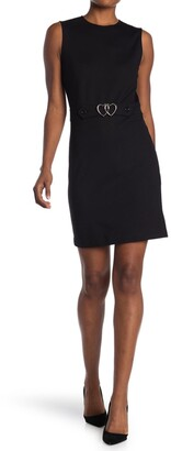 Love Moschino Tank Dress With Double Heart Belt