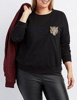 Charlotte Russe Plus Size Tiger Patch Sweatshirt