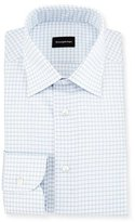 Ermenegildo Zegna Box Check Twill Dress Shirt, White