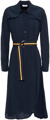 Sandro Marc Belted Crinkled Satin-jacquard Shirt Dress