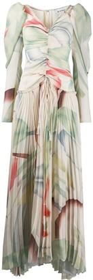 Etro Foliage Print pleated dress