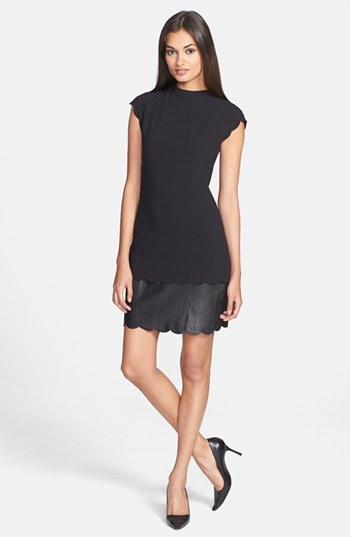 Ted Baker Leather Accent Sheath Dress