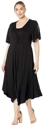 Karen Kane Plus Plus Size Asymmetric Twist Front Dress (Black) Women's Clothing