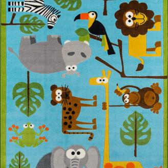 "Momeni Mini Mo Rainforest Friends Nylon Area Rug, Blue, 3'3""x4'11"""