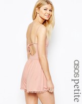Asos 90's Strappy Romper with Tie Back and Pom Pom Hem