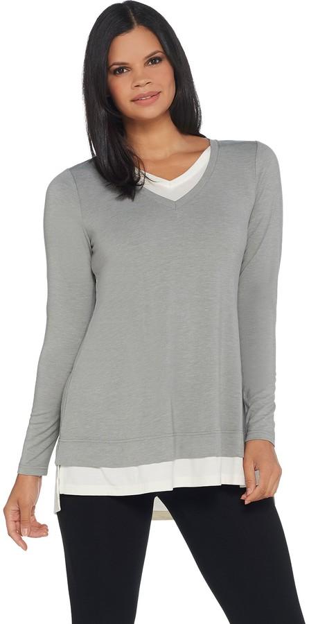 Isaac Mizrahi Live! TRUE DENIM V-Neck Layered Knit Tunic