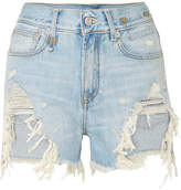 R 13 Distressed Denim Shorts - Light denim