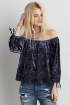American Eagle Outfitters AE Velvet Off-the-Shoulder Shirt