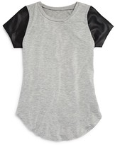 Aqua Girls' Faux Leather Sleeve Tee , Big Kid - 100% Exclusive