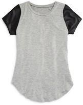 Aqua Girls' Faux Leather Sleeve Tee - Sizes S-XL