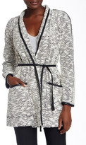 Rebecca Taylor Faux Leather Trimmed Tweed Coat
