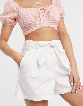 Miss Selfridge cotton shorts with tie waist in white