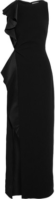 Halston Ruffled Satin-trimmed Crepe Gown