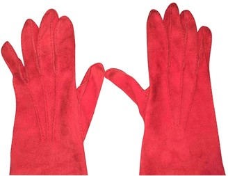 Hermes Red Suede Gloves