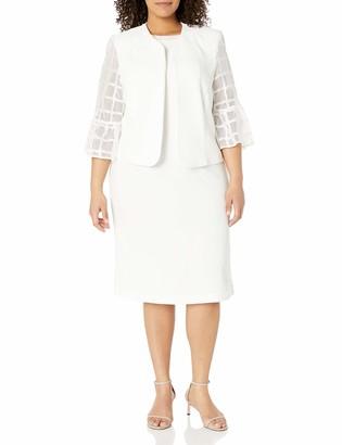 Maya Brooke Women's Plus Size Windowpane Embellished Neck Jacket Dress