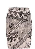 Quiz Nude And Black Flock Print Mesh Midi Skirt