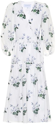 Les Rêveries Floral cotton midi wrap dress