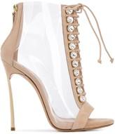 Casadei Transparent Open-Toe Ankle Boots