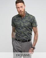 Noose & Monkey Slim Short Sleeve Revere Collar Shirt In Print