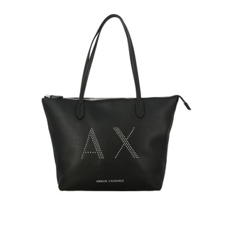 Armani Collezioni Armani Exchange Tote Bags Armani Exchange Shopping Bag In Synthetic Leather With Studded Logo