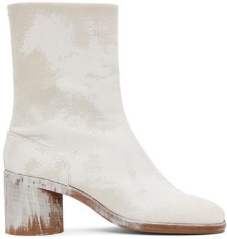 Maison Margiela Off-White Bianchetto Mid Heel Tabi Boots