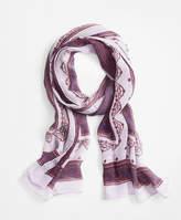 Brooks Brothers Ribbon-Print Silk Chiffon Oblong Scarf