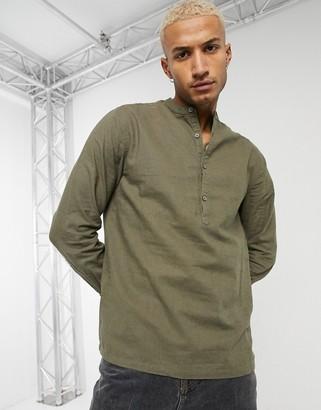 ASOS DESIGN pullover linen shirt with band collar in khaki