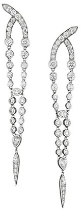 Adriana Orsini Silvertone & Cubic Zirconia Tapered Drop Earrings