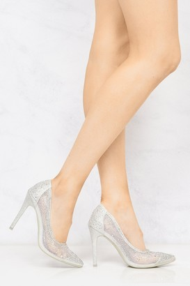 Miss Diva Calaria Diamante Mesh Pointed Toe Court In Silver