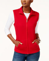 Karen Scott Quilted Fleece Vest, Only at Macy's