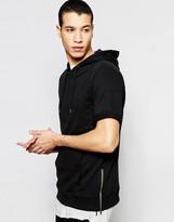 Pull&bear Short-sleeve Hoodie In Black With Side Zips