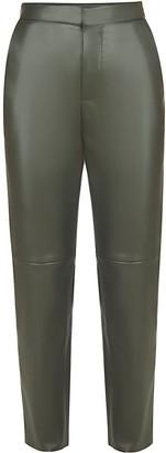 Flow Faux Leather Trousers In Khaki