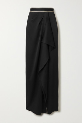 Peter Pilotto Draped Embroidered Satin Maxi Skirt - Black