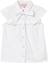 Lili Gaufrette White Blouse with Scalloped Yolk and Bow Detail
