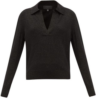 Nili Lotan Stanton V-neck Metallic Wool-blend Sweater - Womens - Black