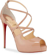 Christian Louboutin Holly Peep-Toe Strappy Red Sole Sandals