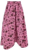 Thumbnail for your product : Ganni Rose-print Organic-cotton Midi Skirt - Pink