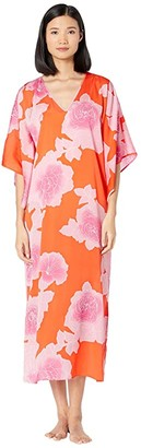 Natori N by Peony Sunset Caftan (Orange Coral/Pink) Women's Pajama