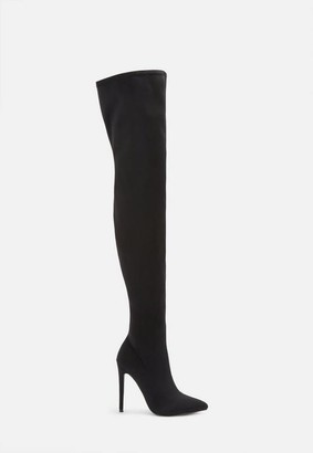 Missguided Black Stiletto Over The Knee Boots