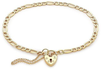 Love Gold 9ct Yellow Gold Figaro Padlock and Safety Chain Bracelet