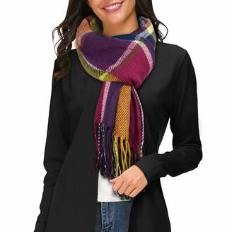 Tuopuda Women's Scarves Winter Long Soft Warm Tartan Check Scarves Wraps Wool Spinning Tassel Shawl Long Stole Plaid Blanket