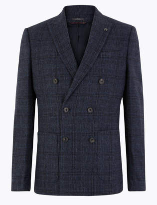 M&S CollectionMarks and Spencer Slim Fit Wool Blend Checked Jacket