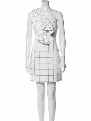 Victoria Beckham Plaid Print Mini Dress White